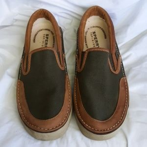 Sperry 9.5 Shoes Green Canvas & Leather Loafers